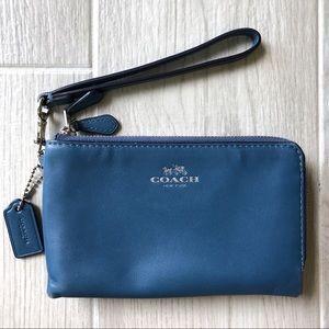 Coach blue leather wristlet wallet